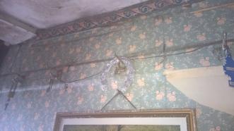 Interesting wallpaper job in the hallway.